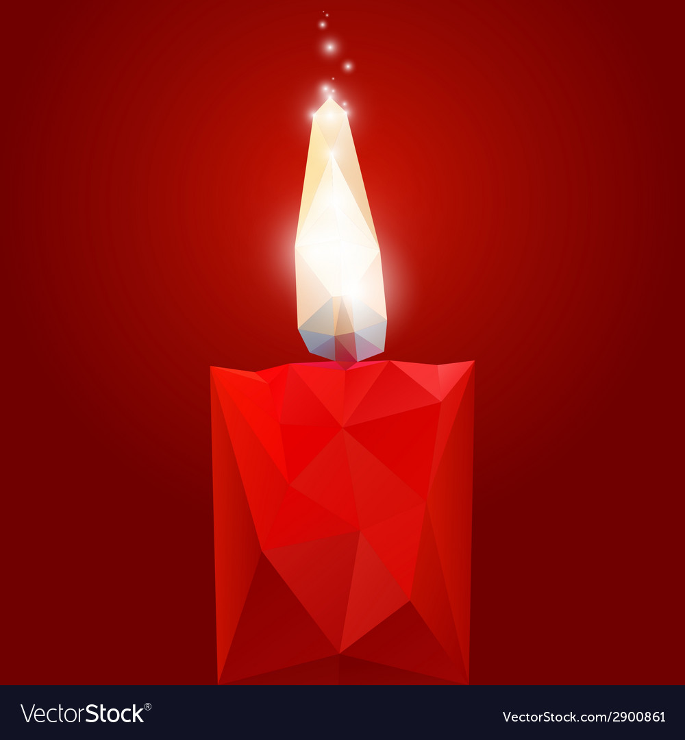 Polygonal red burning candle vector | Price: 1 Credit (USD $1)