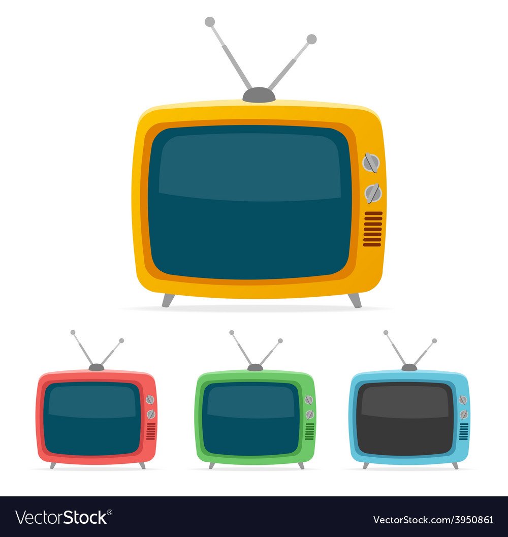 Retro tv set flat design vector