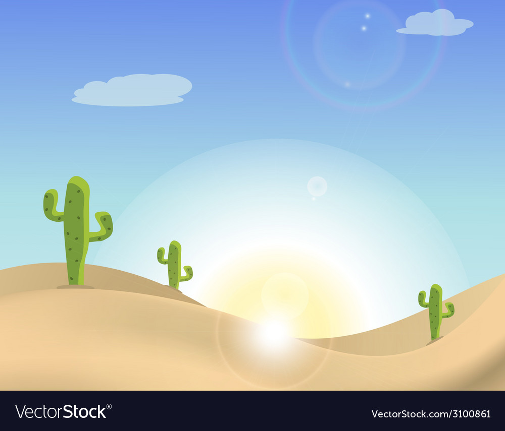 Scene of a cactus in the desert vector | Price: 1 Credit (USD $1)