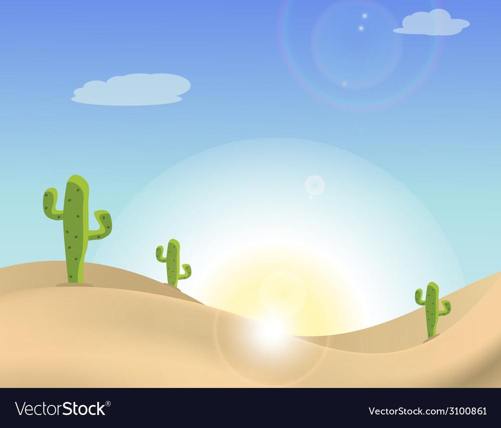 Scene of a cactus in the desert vector | Price: 1 Credit (USD $1)
