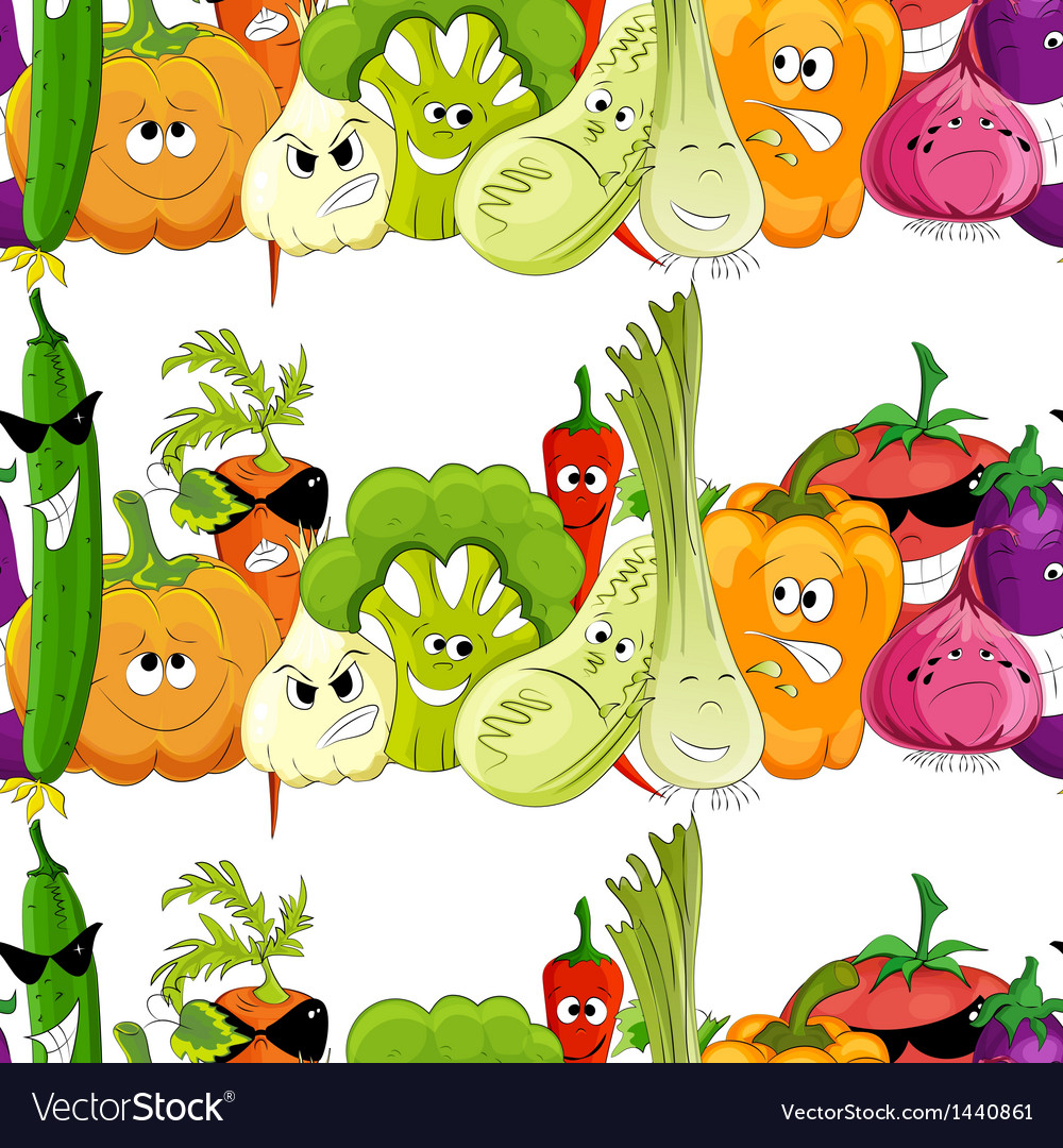 Seamless funny vegetable background vector | Price: 1 Credit (USD $1)