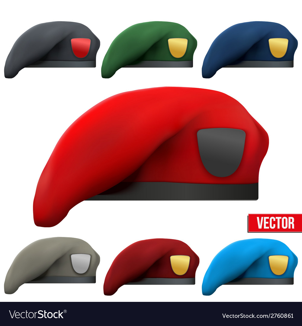 Set of military colorful berets army special vector | Price: 1 Credit (USD $1)