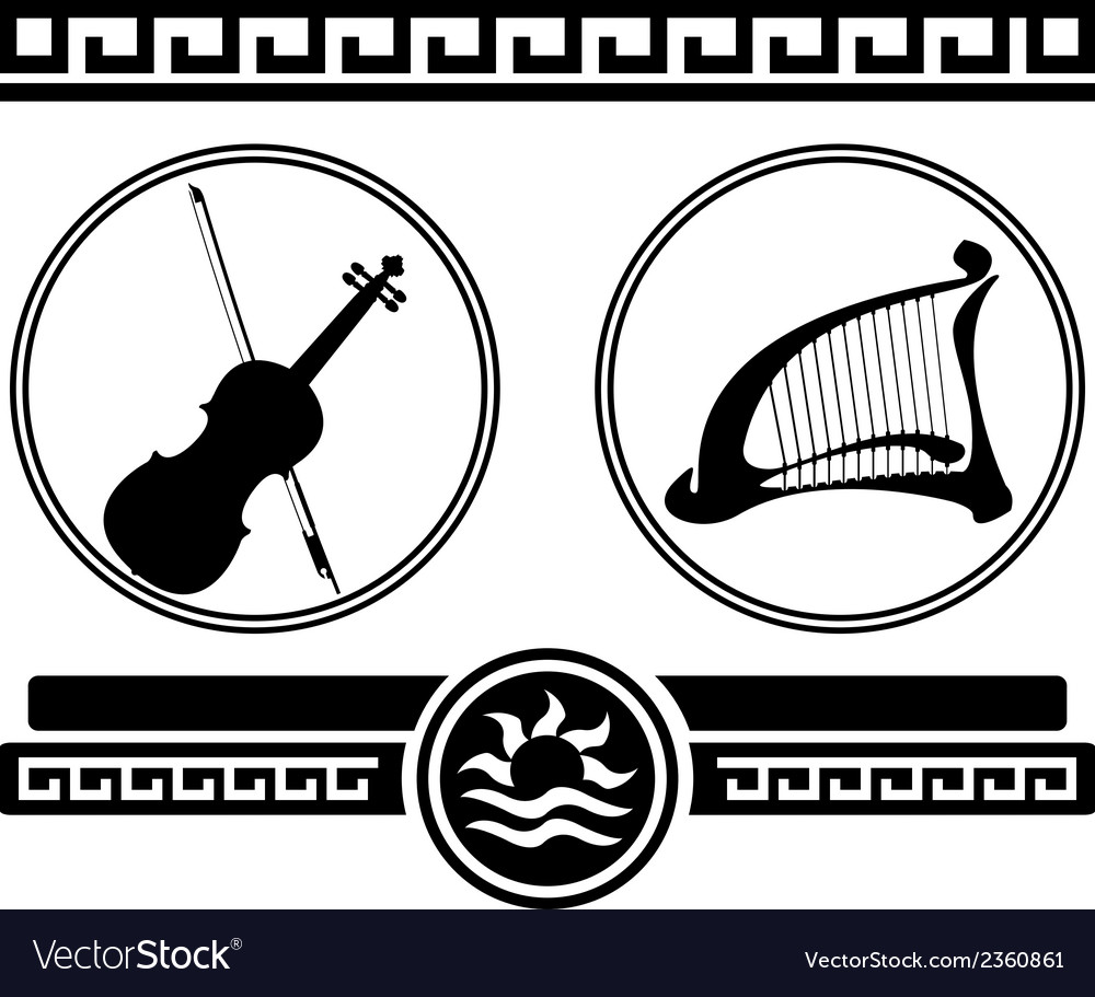 Silhouettes of violin and ancient harp vector | Price: 1 Credit (USD $1)