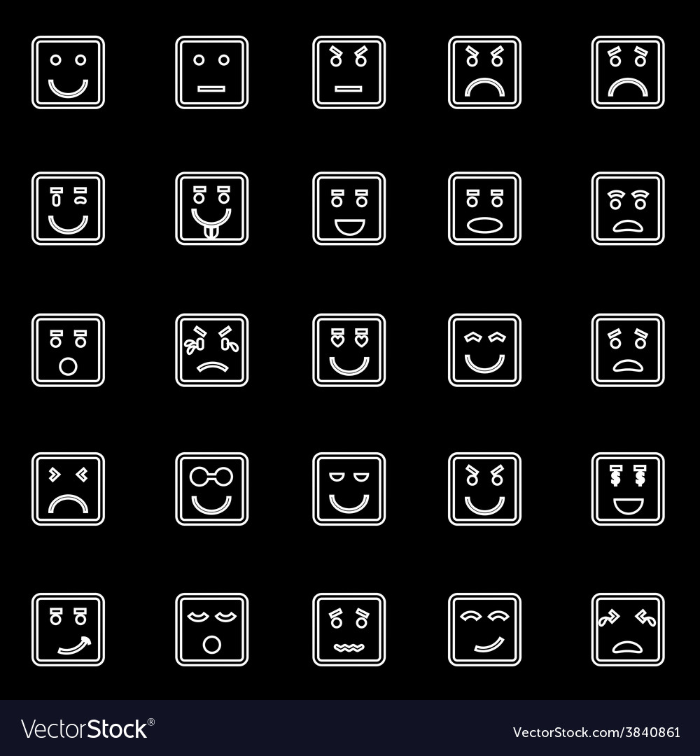 Square face line icons on black background vector | Price: 1 Credit (USD $1)