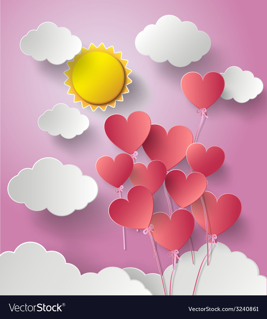 Sun shine with balloon heart vector | Price: 1 Credit (USD $1)
