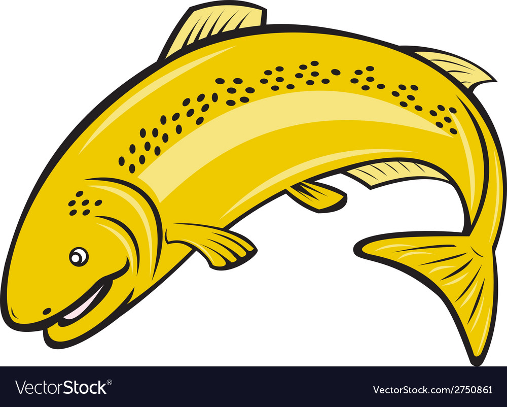 Trout rainbow fish jumping cartoon vector | Price: 1 Credit (USD $1)