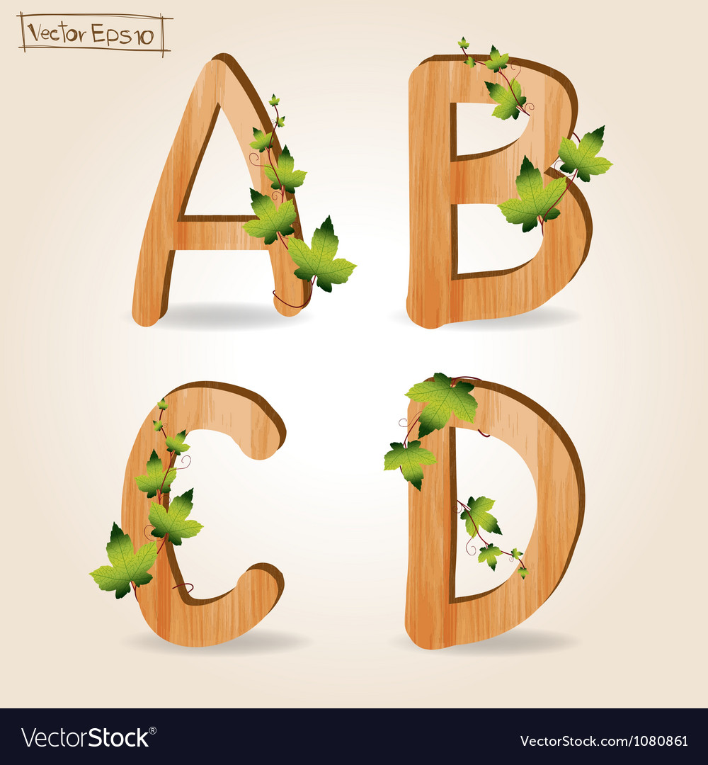 Wood alphabet with branch green leaves vector   Price: 1 Credit (USD $1)