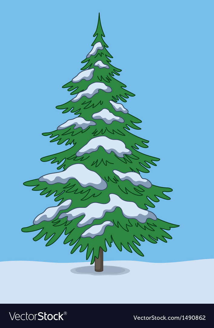 Christmas tree snow and sky vector | Price: 1 Credit (USD $1)