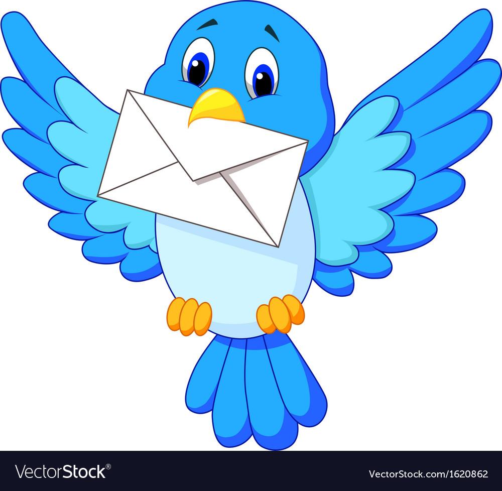 Cute bird cartoon delivering letter vector | Price: 1 Credit (USD $1)