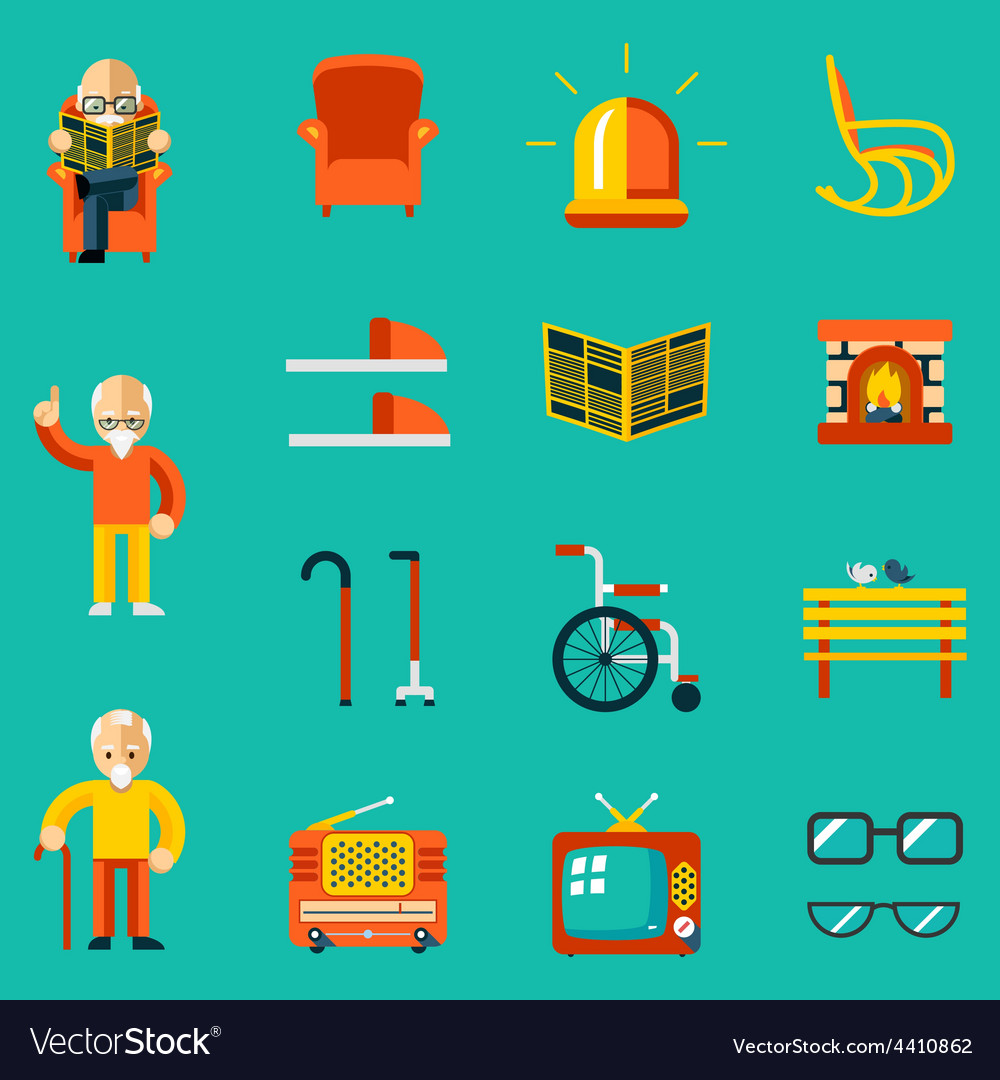 Elderly people icons vector | Price: 1 Credit (USD $1)