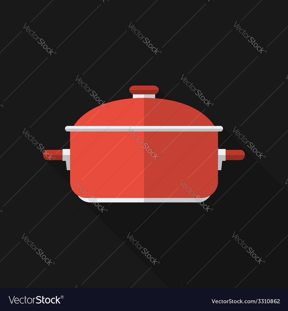 Flat saucepan with long shadow icon vector | Price: 1 Credit (USD $1)
