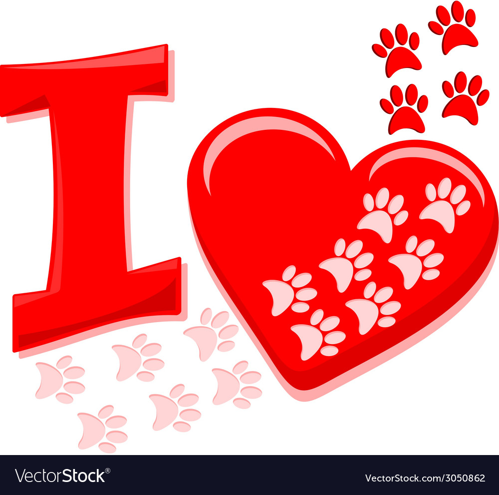 I heart paws vector | Price: 1 Credit (USD $1)