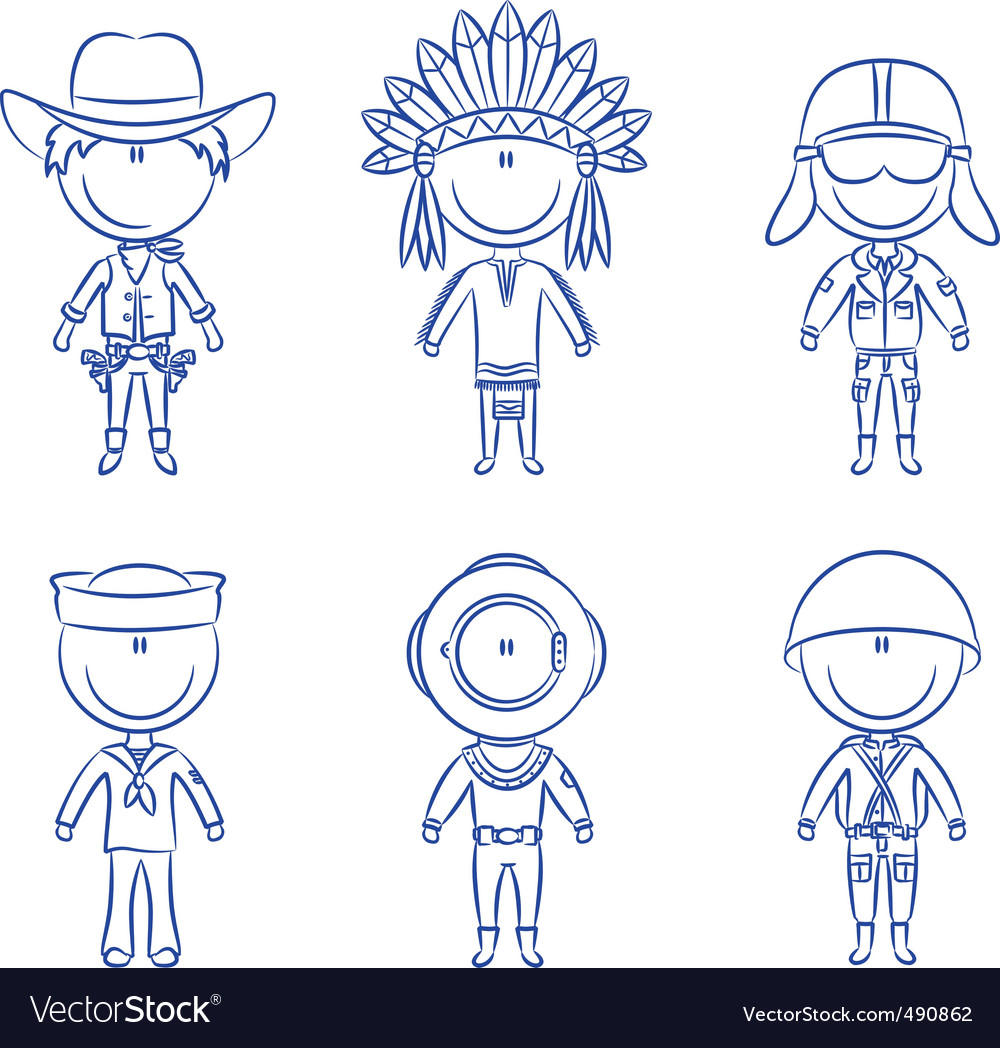 Male occupations costumes vector | Price: 1 Credit (USD $1)