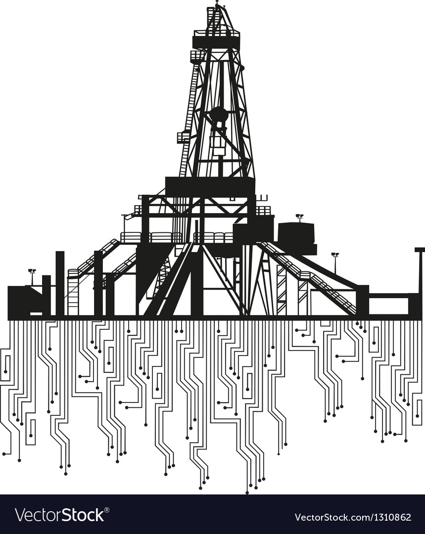 Oil rig silhouettes on white background vector | Price: 1 Credit (USD $1)