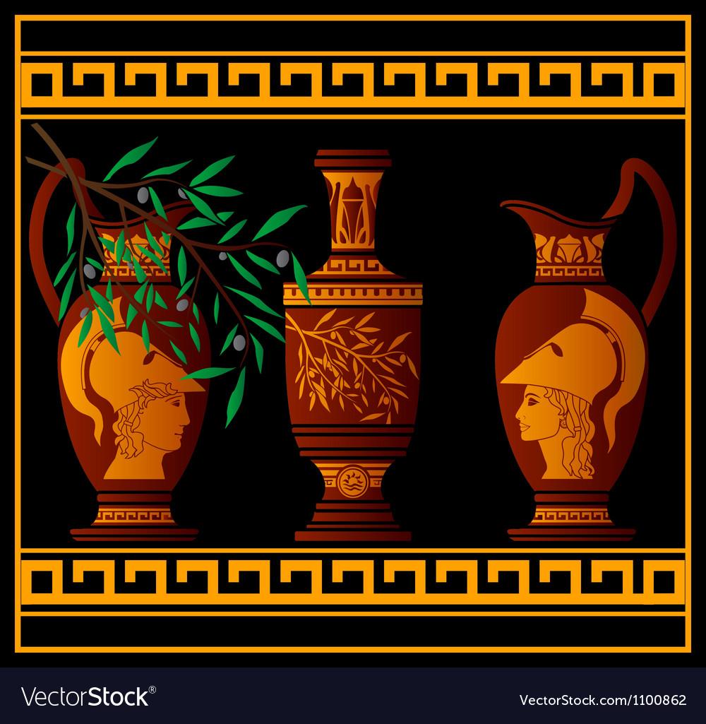 Red greek jugs vector | Price: 1 Credit (USD $1)