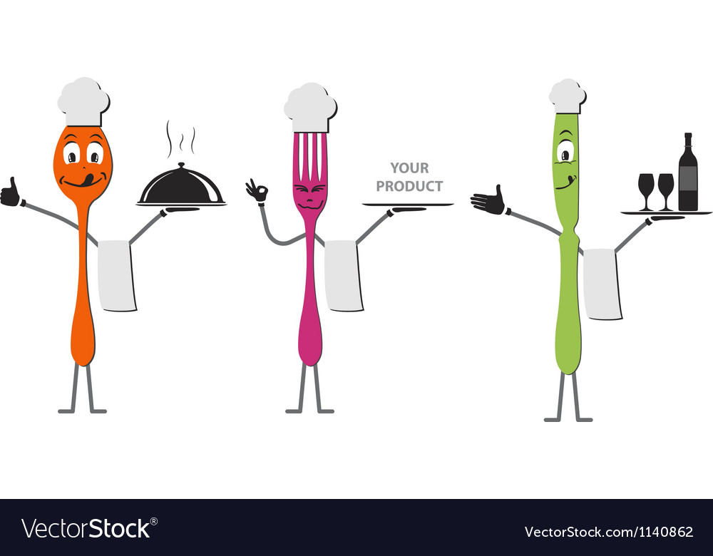 Spoon knife and fork cartoon vector | Price: 1 Credit (USD $1)