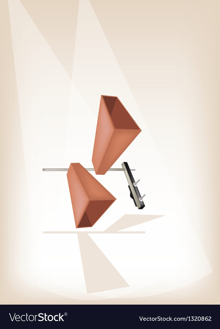 Two musical cowbell on brown stage background vector | Price: 1 Credit (USD $1)