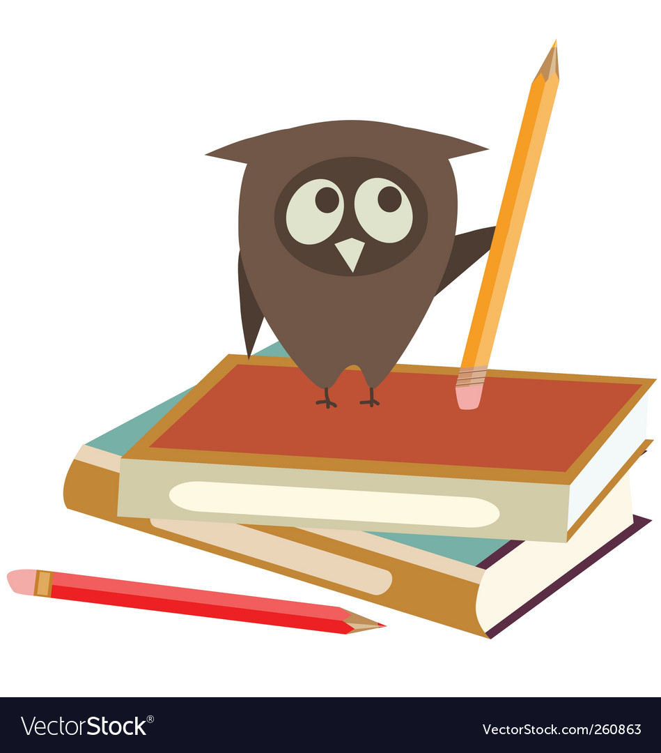 Books and owl vector | Price: 1 Credit (USD $1)