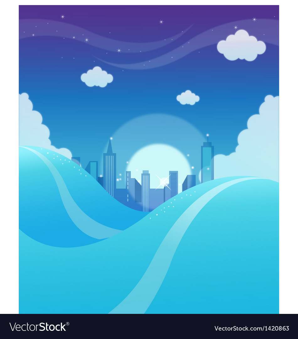 City skyline background vector | Price: 1 Credit (USD $1)