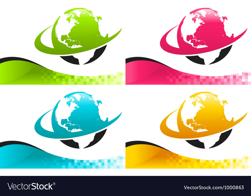 Colorful earth logo icons with banners vector | Price: 1 Credit (USD $1)