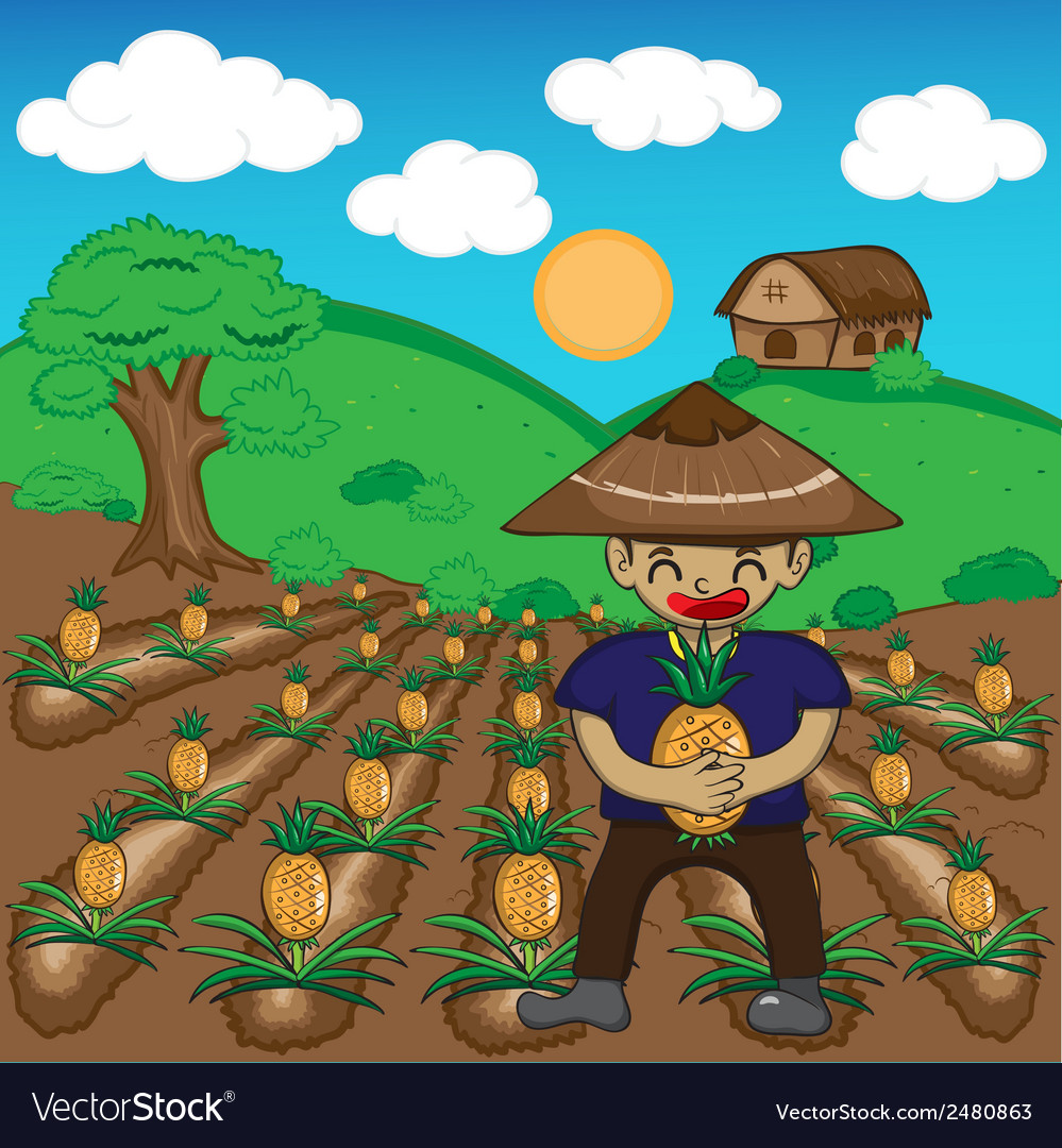Farmer and pineapple a harvest cartoon vector | Price: 1 Credit (USD $1)