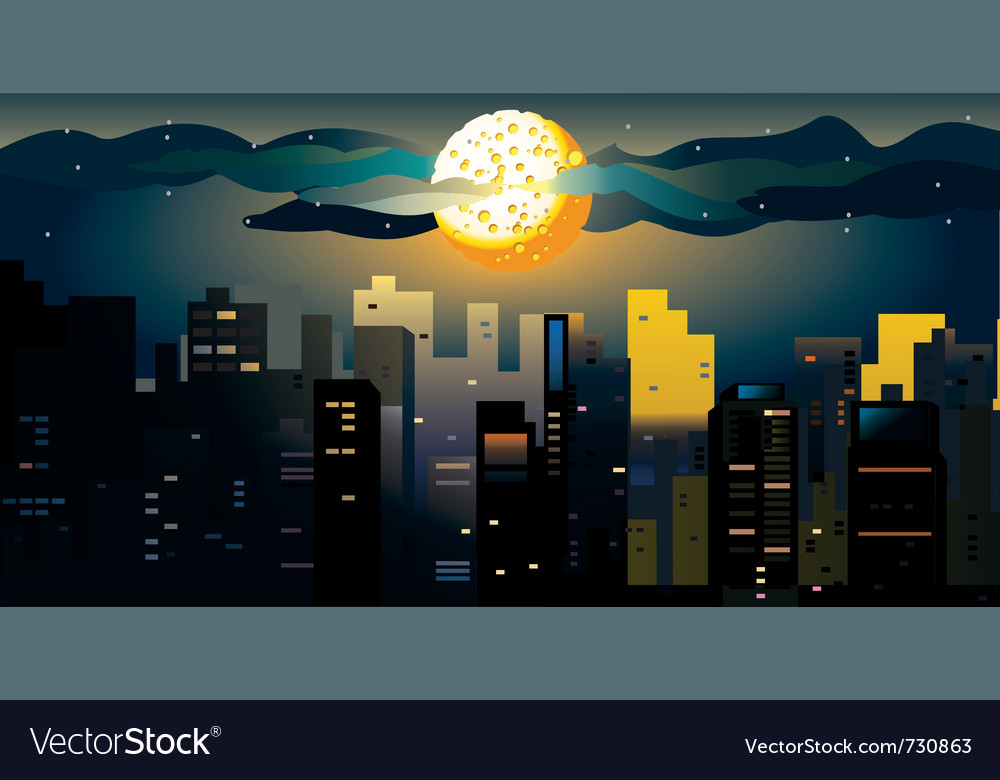 Full moon at the city vector | Price: 1 Credit (USD $1)