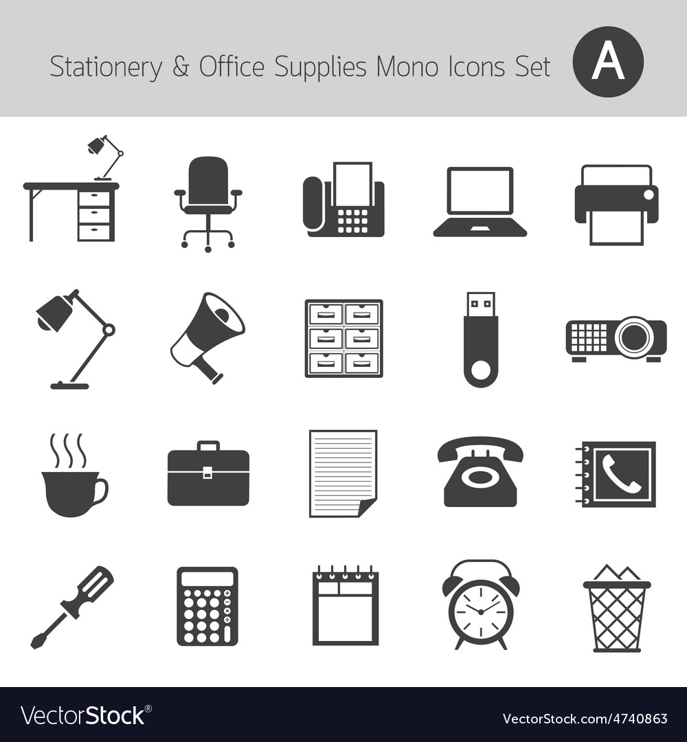 Office supplies and stationery mono icons set vector | Price: 1 Credit (USD $1)