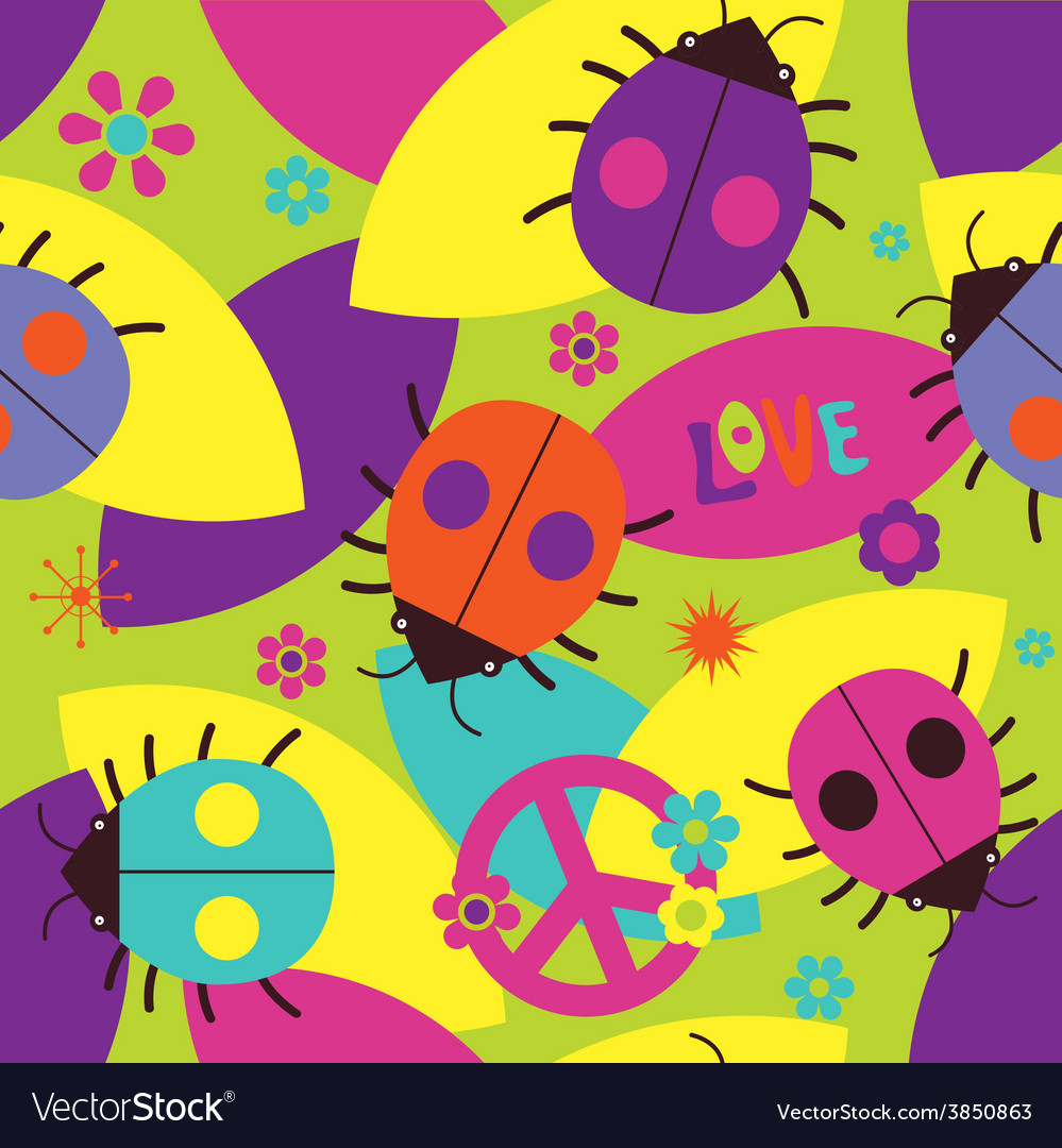 Psychedelic seamless pattern with ladybugs vector | Price: 1 Credit (USD $1)