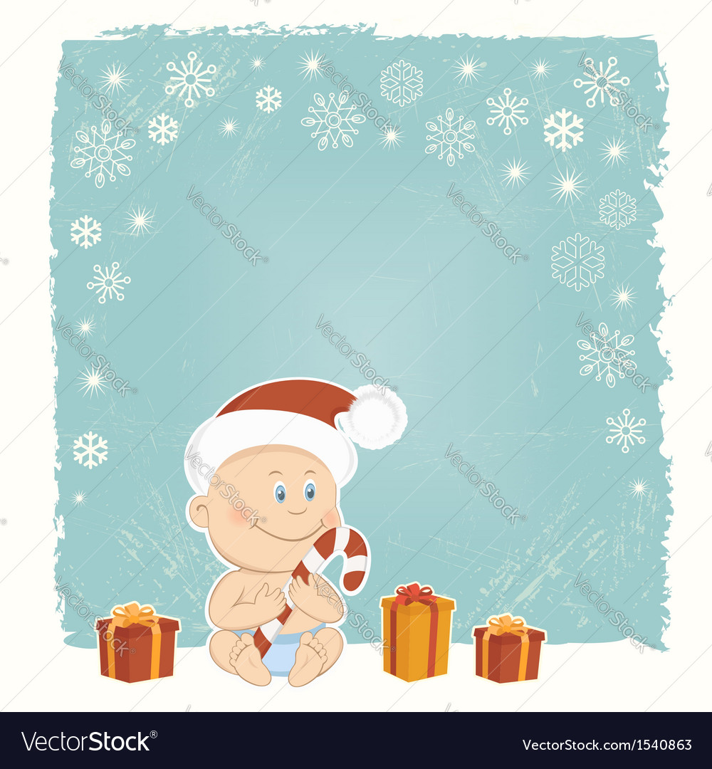 Retro christmas card with baby santa vector | Price:  Credit (USD $)