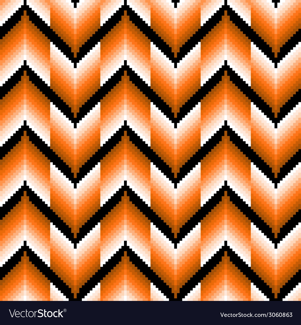 Seamless pattern with orange zigzag elements vector | Price: 1 Credit (USD $1)