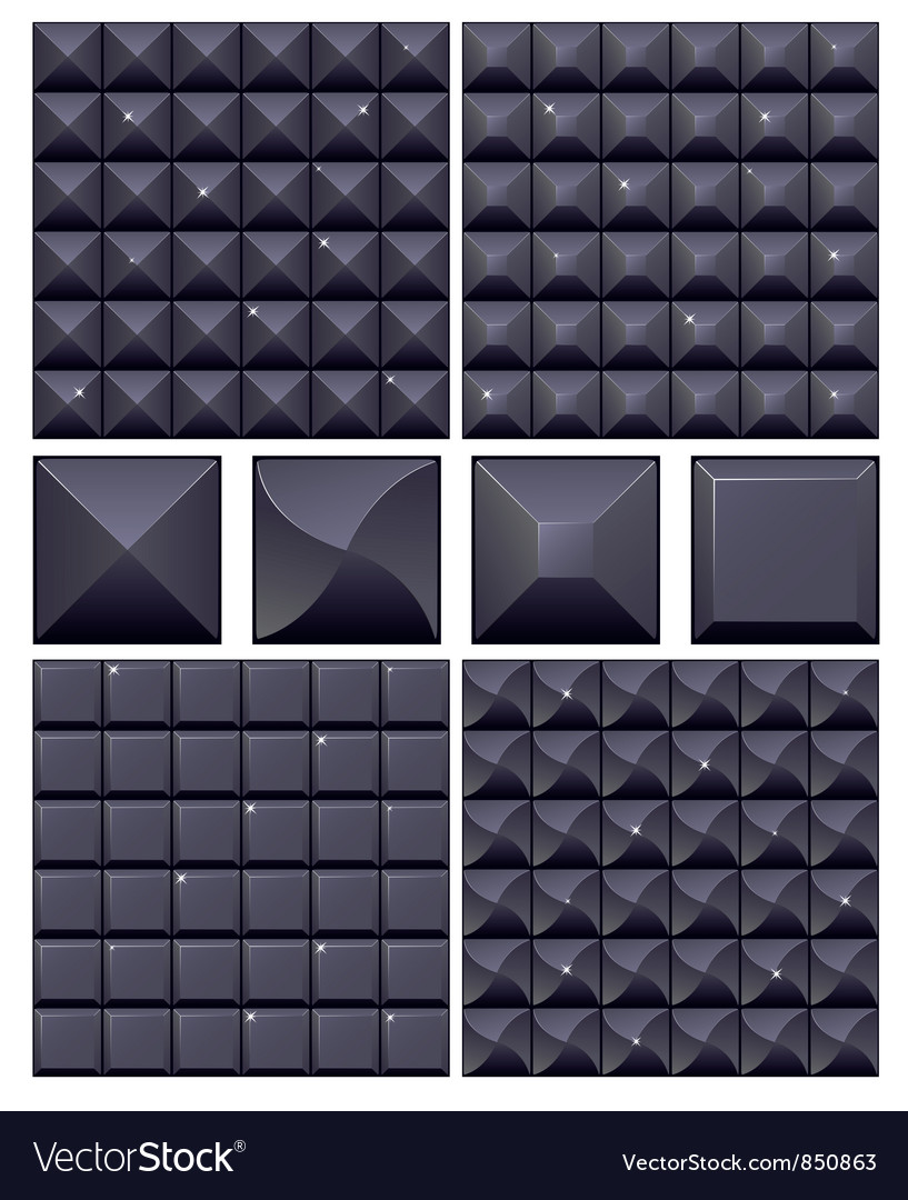 Set of 4 seamless black mosaic backgrounds vector | Price: 1 Credit (USD $1)