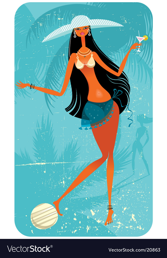 Vacation girl with ball vector | Price: 3 Credit (USD $3)