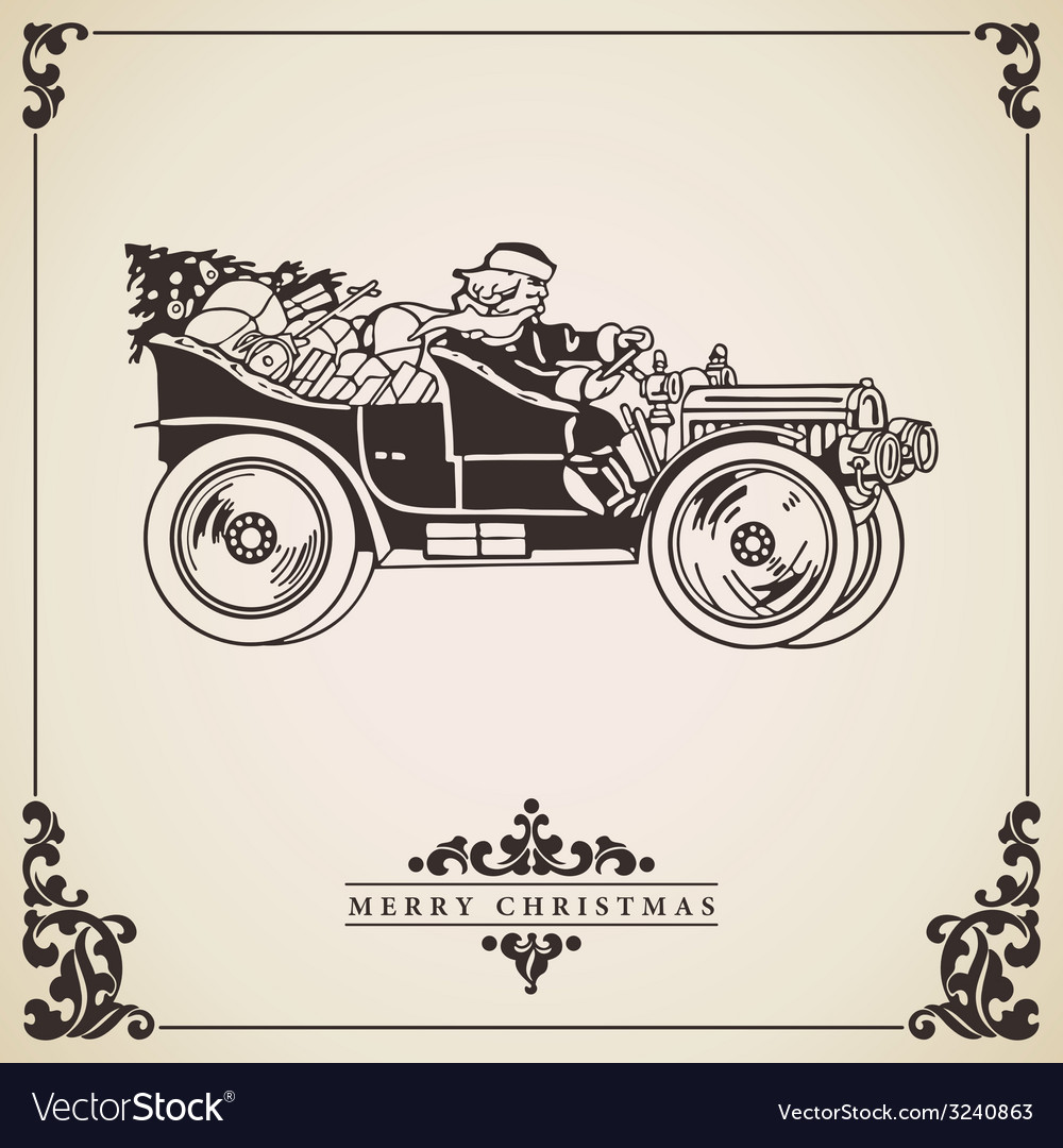 Vintage christmas card  santa claus driving vector | Price: 1 Credit (USD $1)