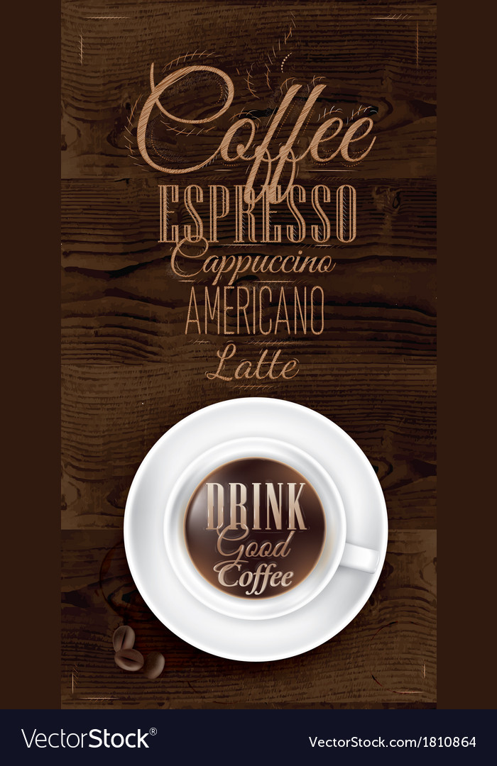 Cup coffee dark wood vector | Price: 1 Credit (USD $1)