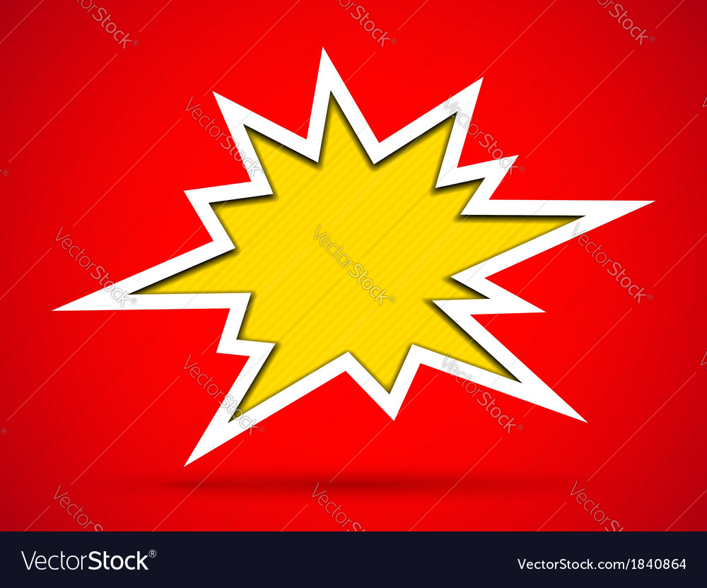 Cut out hole bang sign on red background vector | Price: 1 Credit (USD $1)