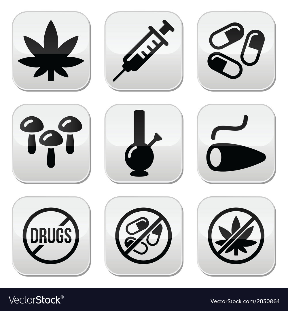 Drugs addiction marijuana syringe buttons set vector | Price: 1 Credit (USD $1)