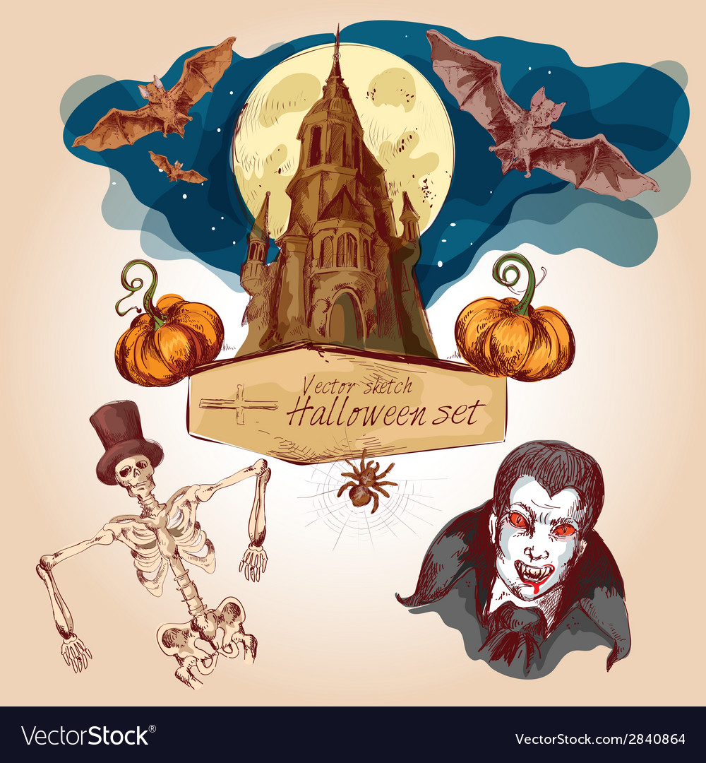 Halloween colored sketch set vector | Price: 1 Credit (USD $1)