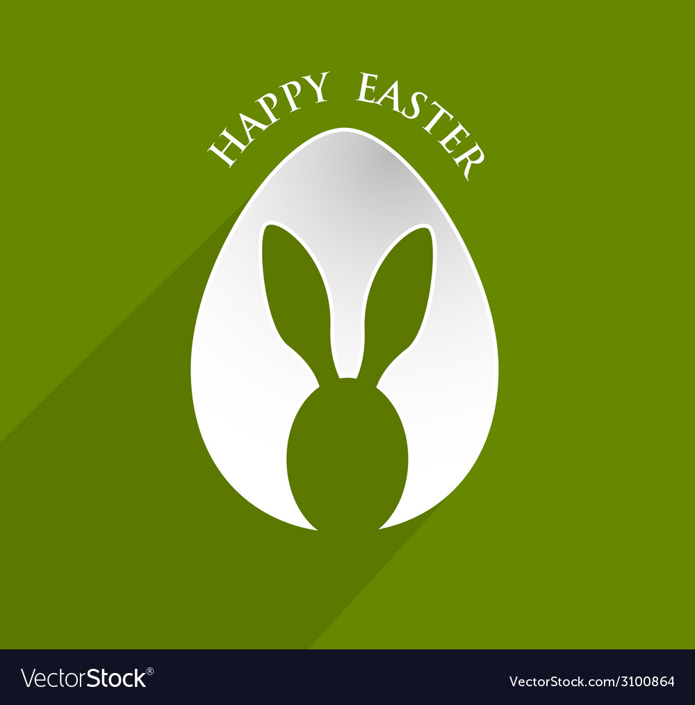 Happy easter bunny ear egg shape with lonh shadow vector | Price: 1 Credit (USD $1)