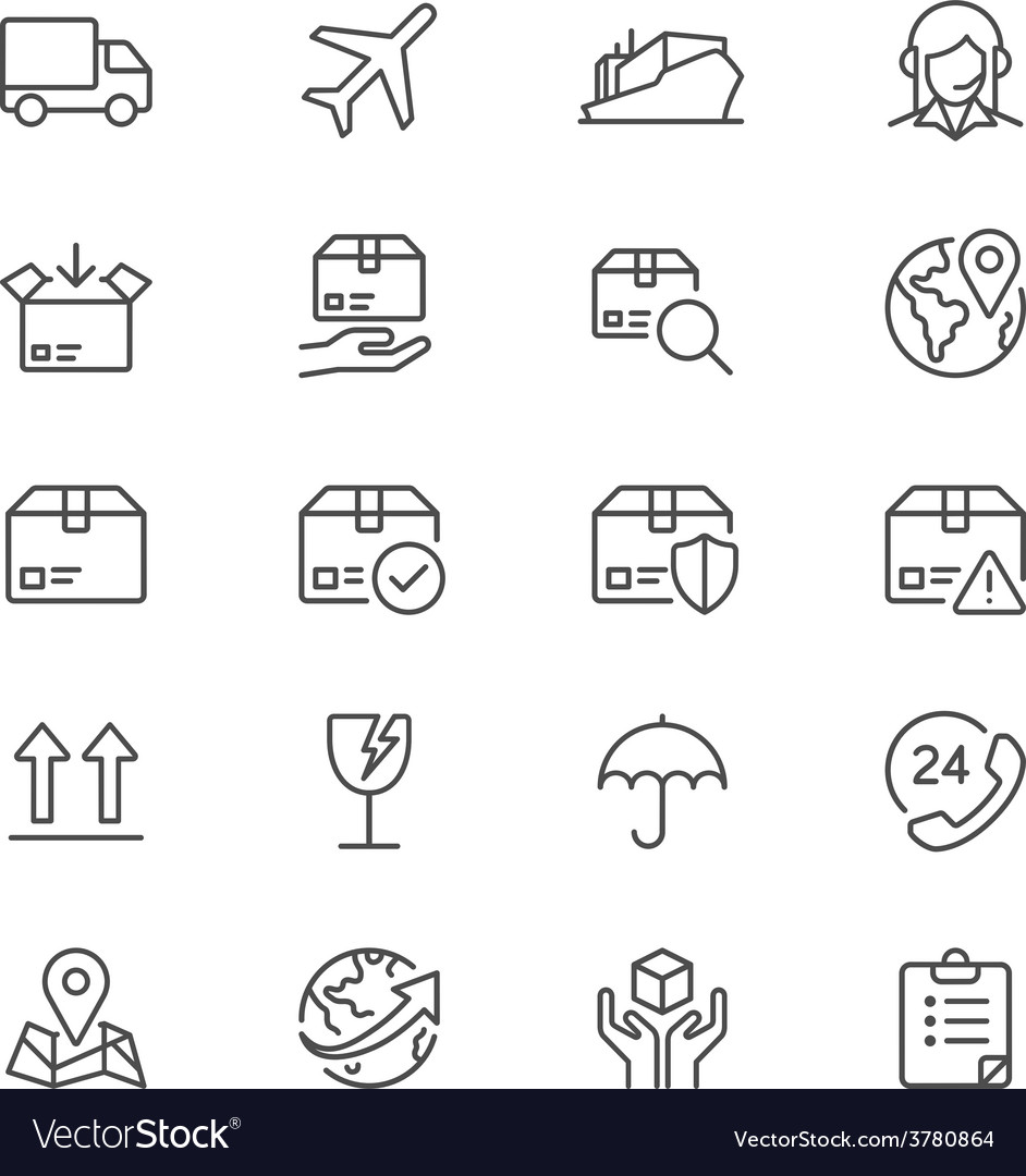 Logistics and shipping thin icons vector | Price: 1 Credit (USD $1)