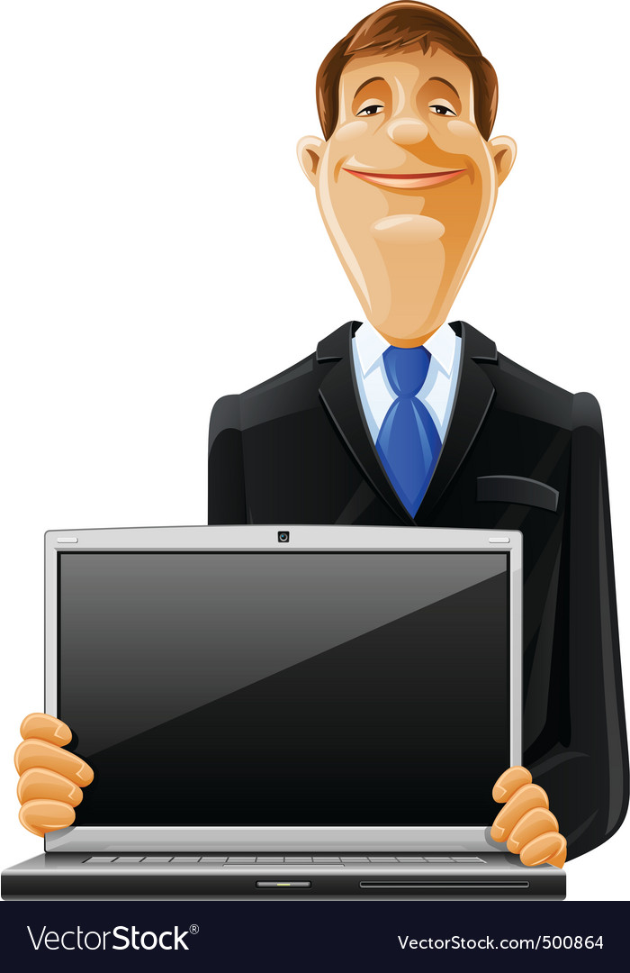 Man with laptop vector | Price: 5 Credit (USD $5)