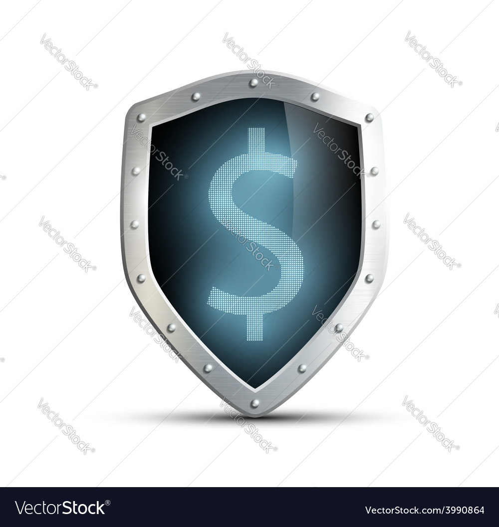 Metal shield with the image of dollar isolated on vector | Price: 1 Credit (USD $1)