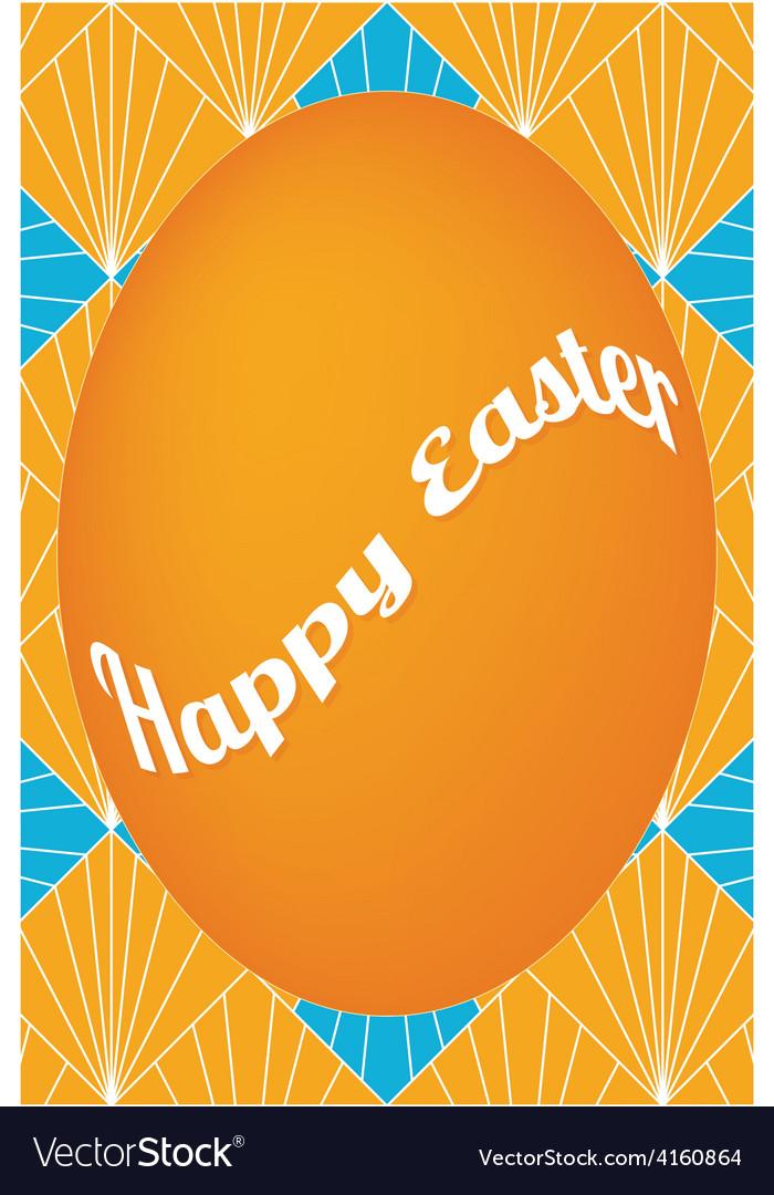 Orange easter egg card on fan pattern vector | Price: 1 Credit (USD $1)