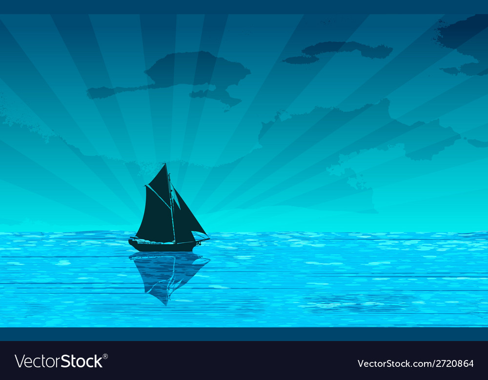 Sailing yacht on the ocean vector | Price: 1 Credit (USD $1)