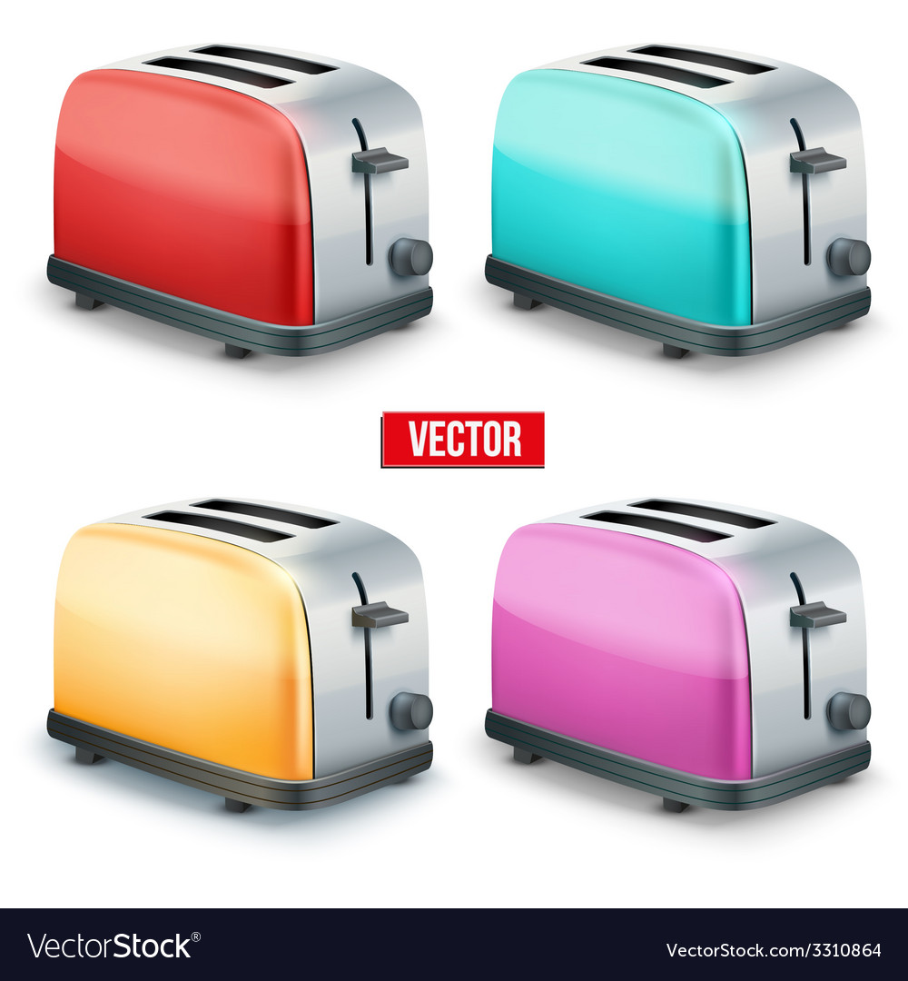 Set of bright toasters isolated on white vector | Price: 3 Credit (USD $3)