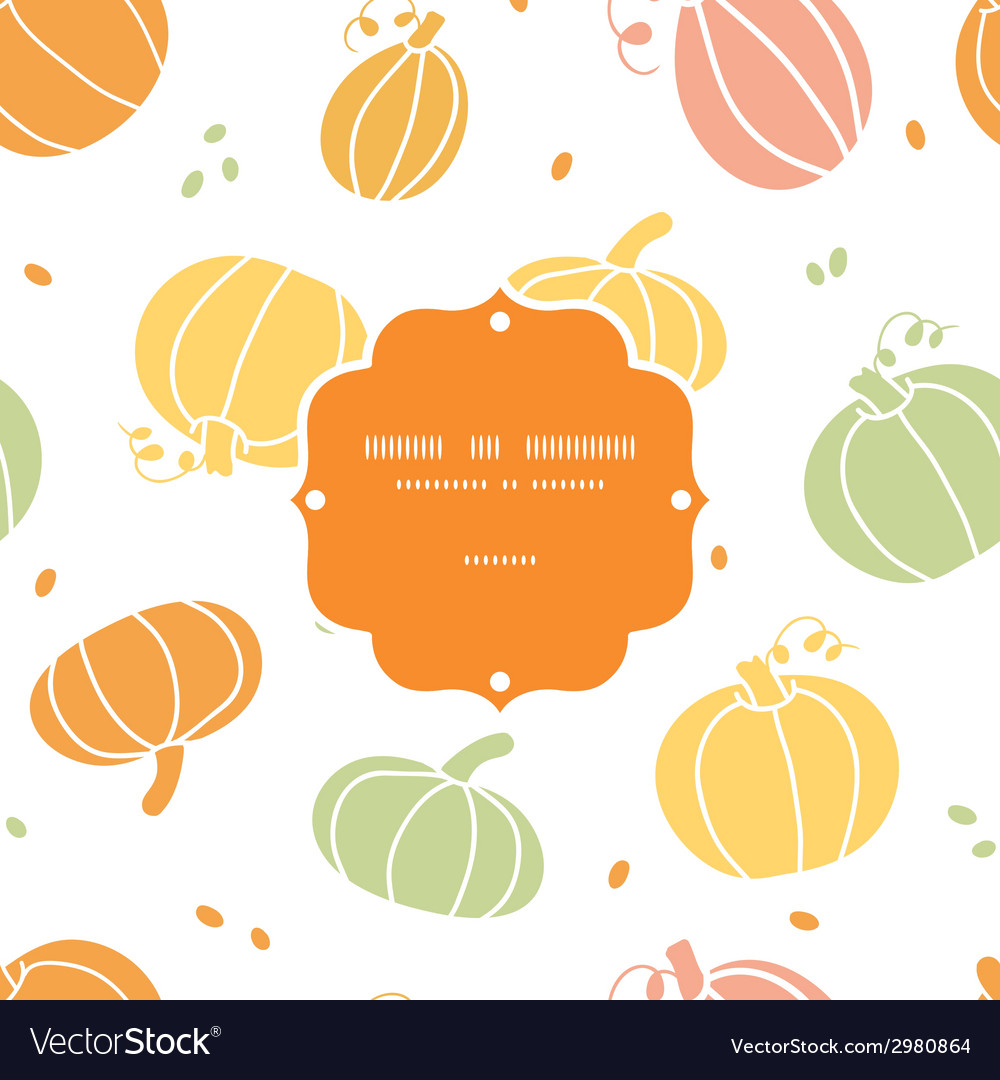 Thanksgiving colorful pumpkins silhouettes frame vector | Price: 1 Credit (USD $1)
