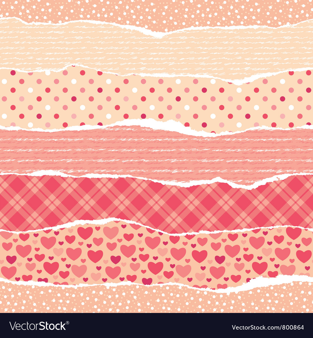 Torn wrapping paper with hearts vector | Price: 1 Credit (USD $1)