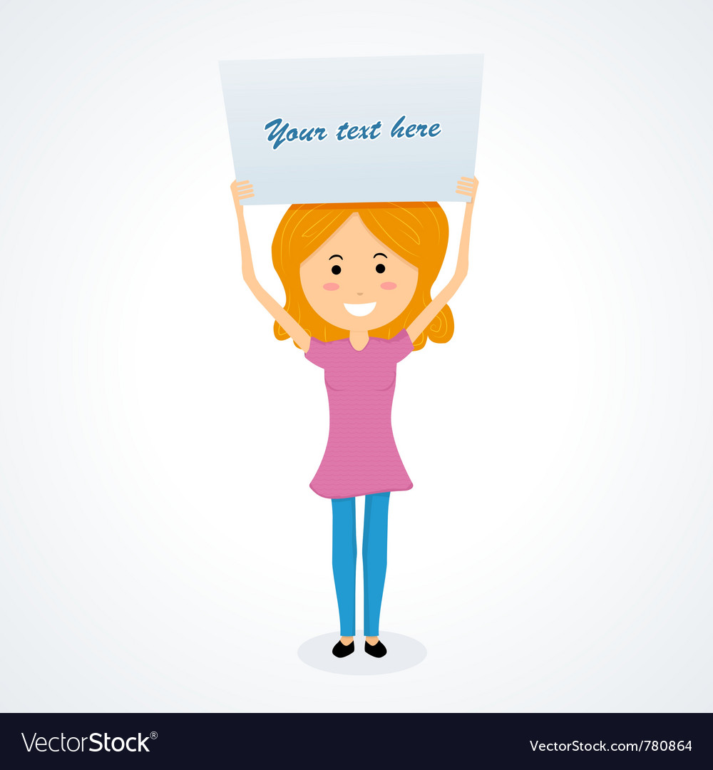 Young girl holding signboard vector | Price: 3 Credit (USD $3)