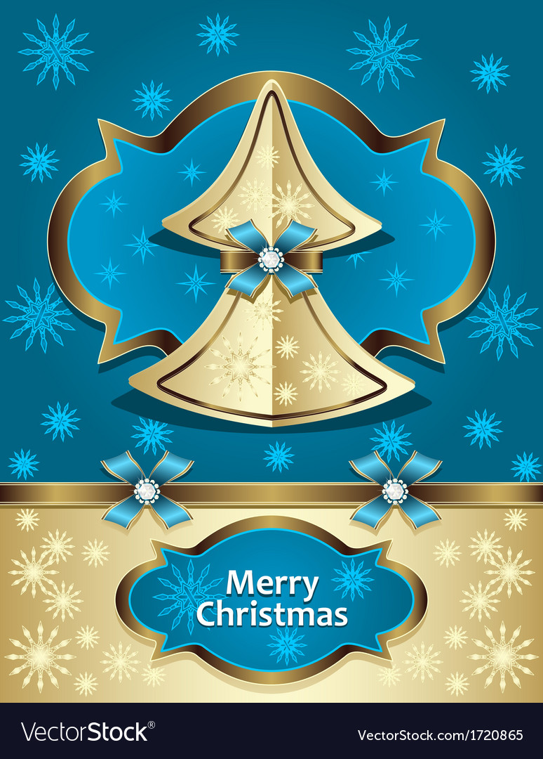 Christmas tree from paper with bow ribbon snowflak vector   Price: 1 Credit (USD $1)