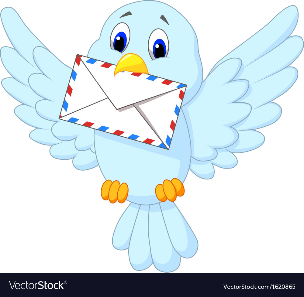 Cute bird delivering letter vector | Price: 1 Credit (USD $1)