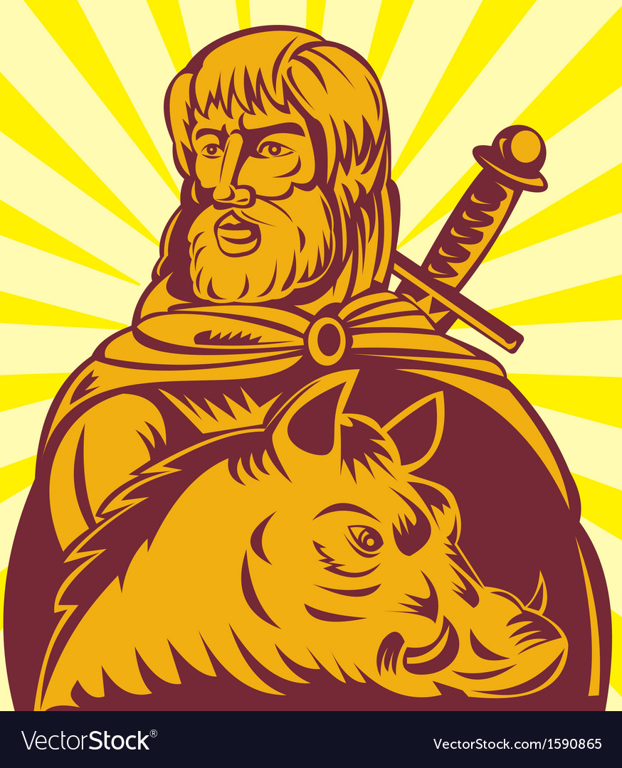 Frey norse god of agriculture with sword and boar vector | Price: 1 Credit (USD $1)